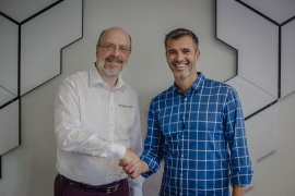 ArKaos CEO Marco Hinic with Anolis's Tim van Den Eede